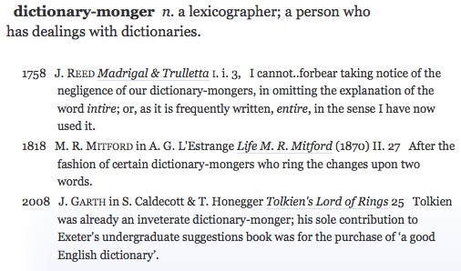 dictionary-monger OED citations